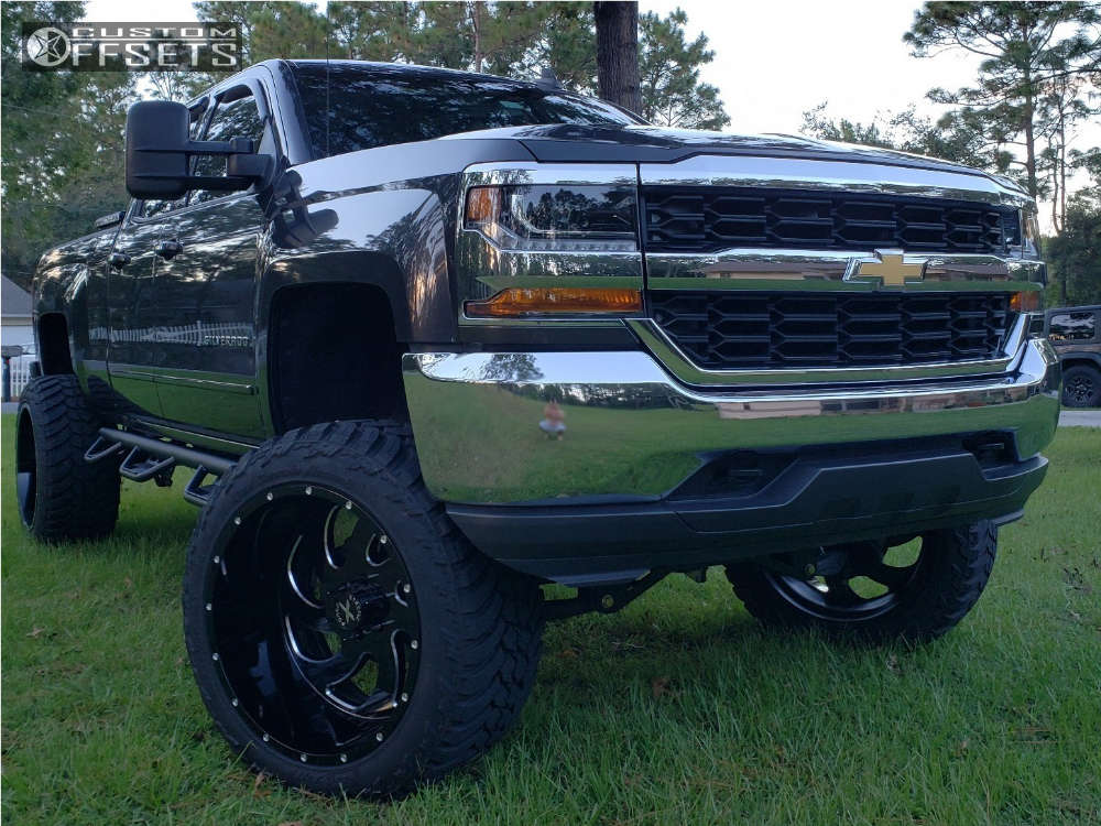 """2016 Chevrolet Silverado 1500 Hella Stance >5"""" on 24x14 -76 offset Xtreme Force Xf1 & 37""""x13.5"""" AMP Mud Terrain Attack Mt A on Suspension Lift 9"""" - Custom Offsets Gallery"""