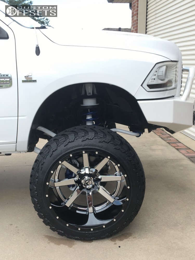 """2012 Ram 2500 Hella Stance >5"""" on 24x16 -100 offset Fuel Maverick and 37""""x13.5"""" AMP Mud Terrain Attack Mt A on Suspension Lift 9.5"""" - Custom Offsets Gallery"""