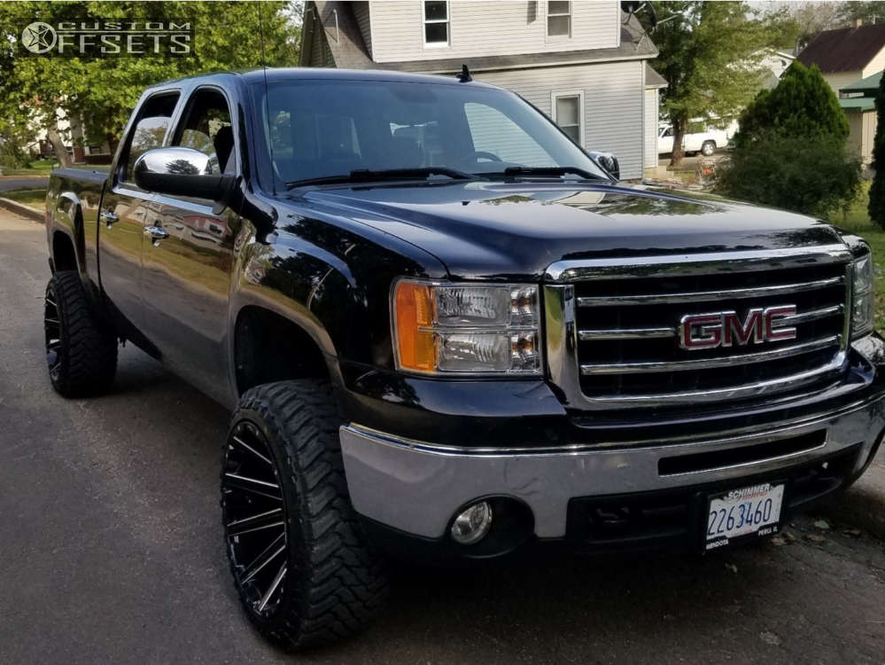 """2012 GMC Sierra 1500 Slightly Aggressive on 22x12 -44 offset Fuel Contra & 33""""x12.5"""" Atturo Trail Blade Mt on Suspension Lift 3"""" - Custom Offsets Gallery"""