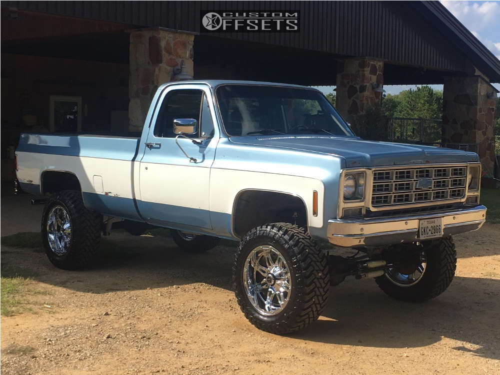 """1977 Chevrolet K10 Pickup Nearly Flush on 20x10 -24 offset Fuel Hostage and 35""""x12.5"""" Atturo Trail Blade Mt on Suspension Lift 6"""" - Custom Offsets Gallery"""