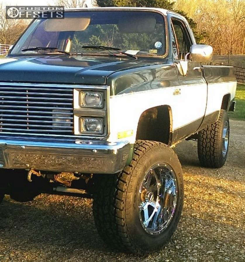 """1985 Chevrolet K10 HellaFlush on 20x12 -44 offset Gear Off-Road 726 & 35""""x12.5"""" Toyo Tires Open Country A/T II on Suspension Lift 8"""" - Custom Offsets Gallery"""