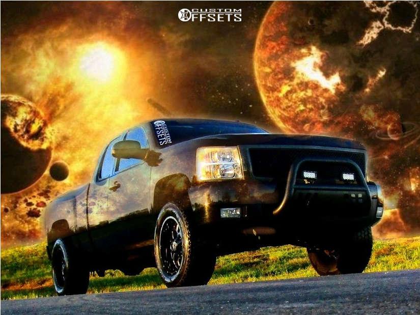 "2010 Chevrolet Silverado 1500 Aggressive > 1"" outside fender on 20x10 -19 offset Hardrock Gunner H705 & 305/55 Goodyear Wrangler All Terrain Adventure Kevlar on Suspension Lift 4"" - Custom Offsets Gallery"