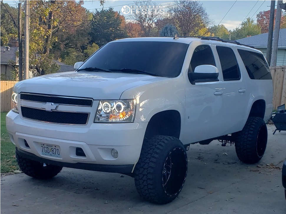 """2007 Chevrolet Suburban 2500 Slightly Aggressive on 22x14 -76 offset TIS 544BM & 33""""x12.5"""" Fury Offroad Country Hunter Mt on Suspension Lift 6"""" - Custom Offsets Gallery"""