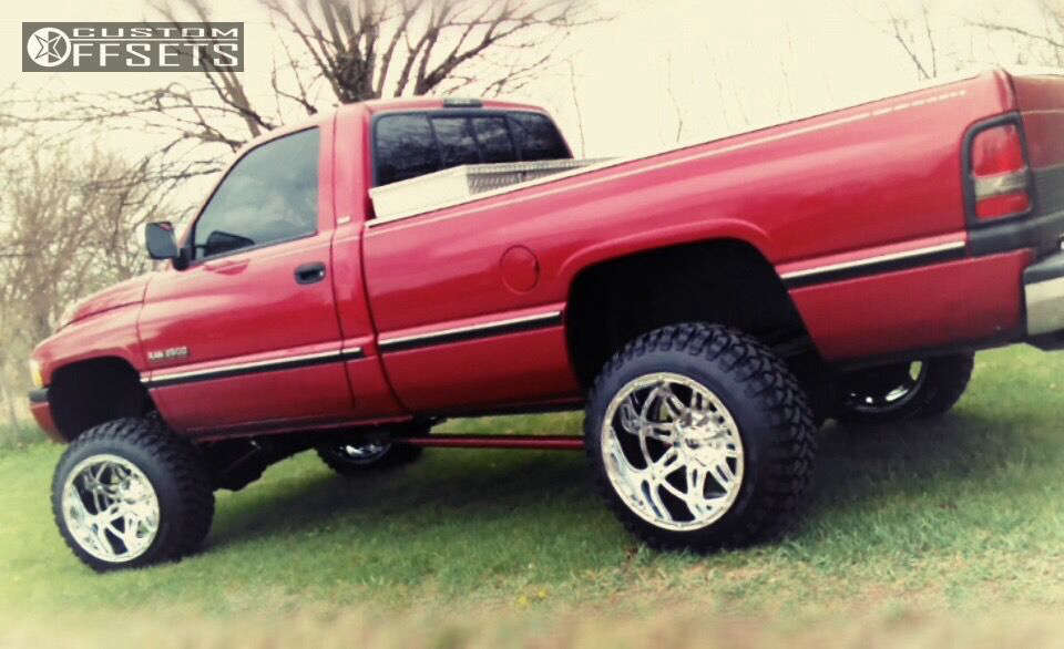 """1997 Dodge Ram 2500 Hella Stance >5"""" on 20x14 -76 offset Fuel Hostage and 33""""x12.5"""" Free Passer CT404 on Suspension Lift 4"""" - Custom Offsets Gallery"""