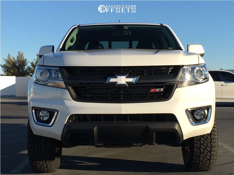 """2018 Chevrolet Colorado Aggressive > 1"""" outside fender on 17x9 0 offset DWG Offroad Dw10 & 265/70 Falken Wildpeak At3w on Leveling Kit - Custom Offsets Gallery"""