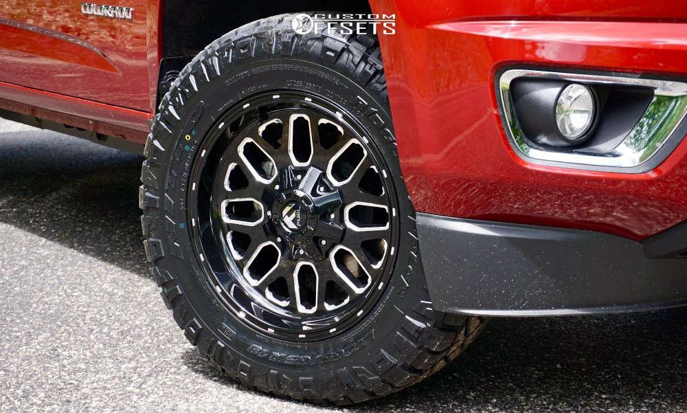 2018 Chevrolet Colorado Slightly Aggressive on 18x9 7 offset Fuel Titan & 265/65 Nitto Ridge Grappler on Leveling Kit - Custom Offsets Gallery