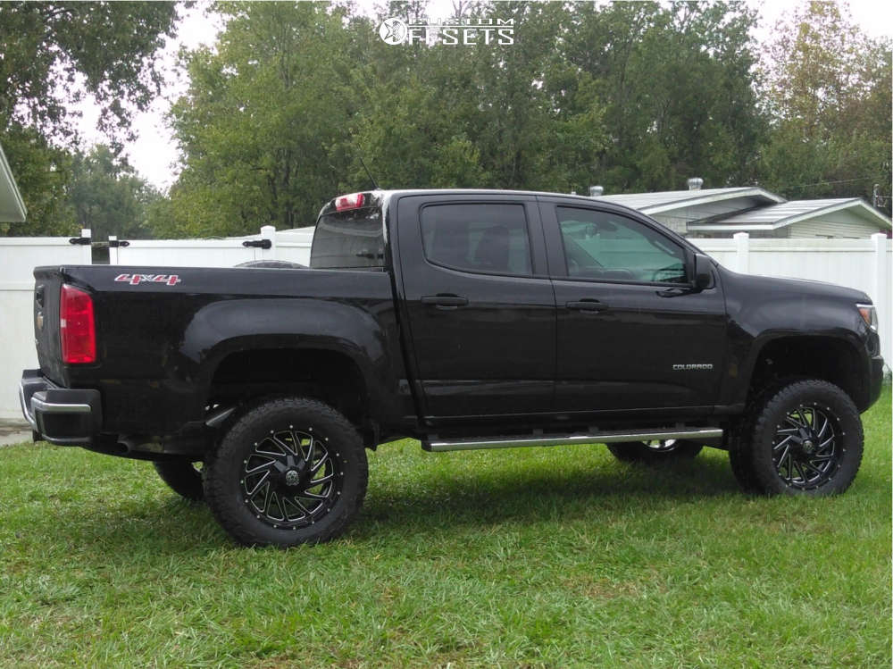 """2018 Chevrolet Colorado Aggressive > 1"""" outside fender on 20x9 0 offset Dwg Offroad Dw12 & 305/55 Falken Wildpeak At3w on Suspension Lift 6"""" - Custom Offsets Gallery"""