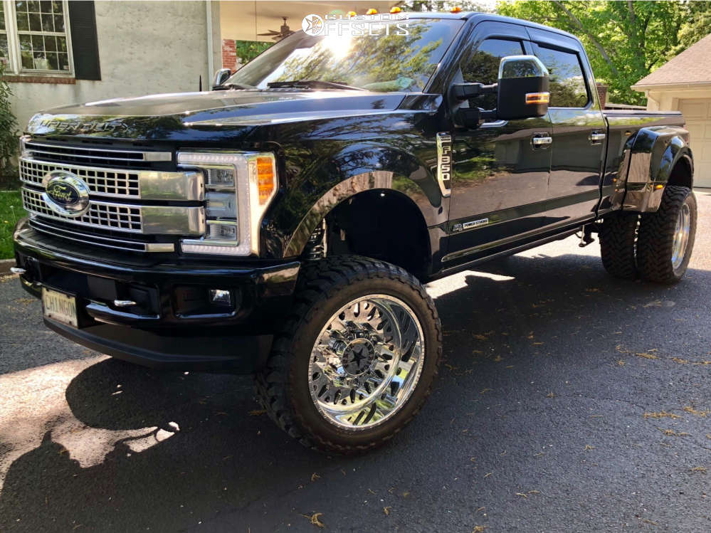 """2017 Ford F-350 Super Duty Super Aggressive 3""""-5"""" on 24x12 -40 offset American Force Evo Ss and 37""""x13.5"""" Toyo Tires Open Country M/T on Suspension Lift 6"""" - Custom Offsets Gallery"""