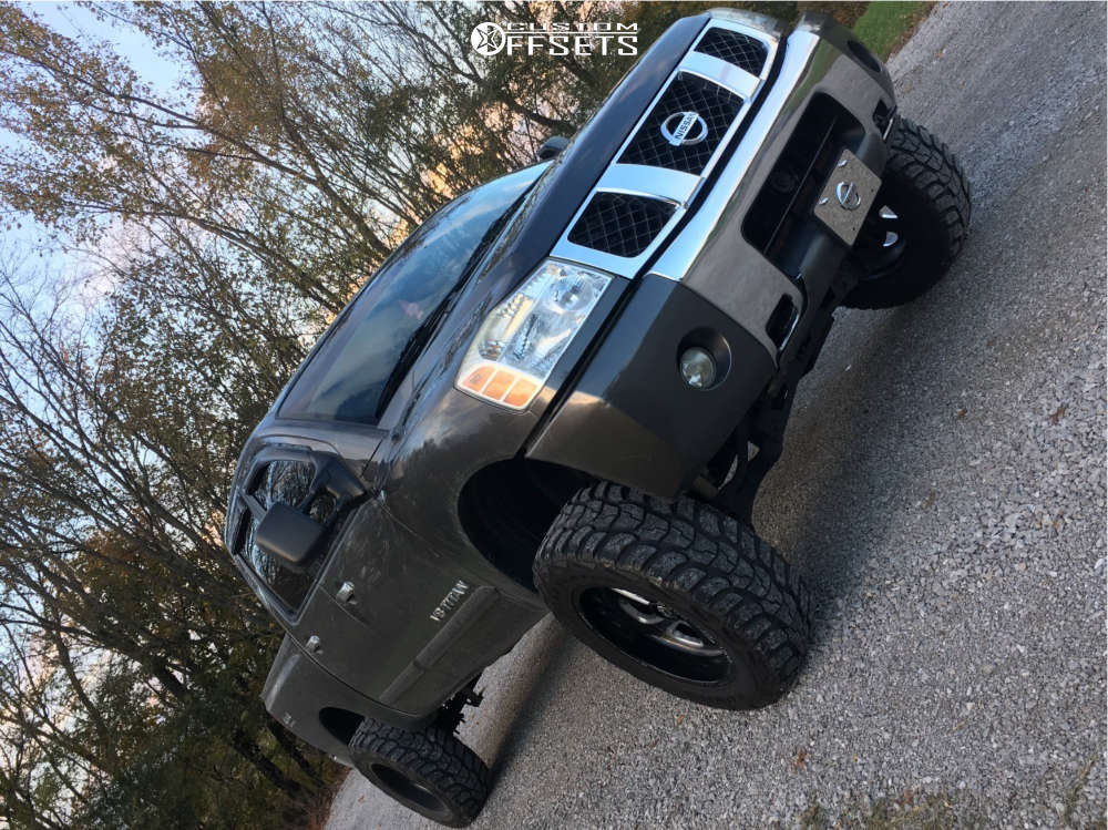 """2006 Nissan Titan Super Aggressive 3""""-5"""" on 20x12 -43 offset Fuel Flow and 35""""x12.5"""" Kumho Road Venture Mt on Suspension Lift 4.5"""" - Custom Offsets Gallery"""