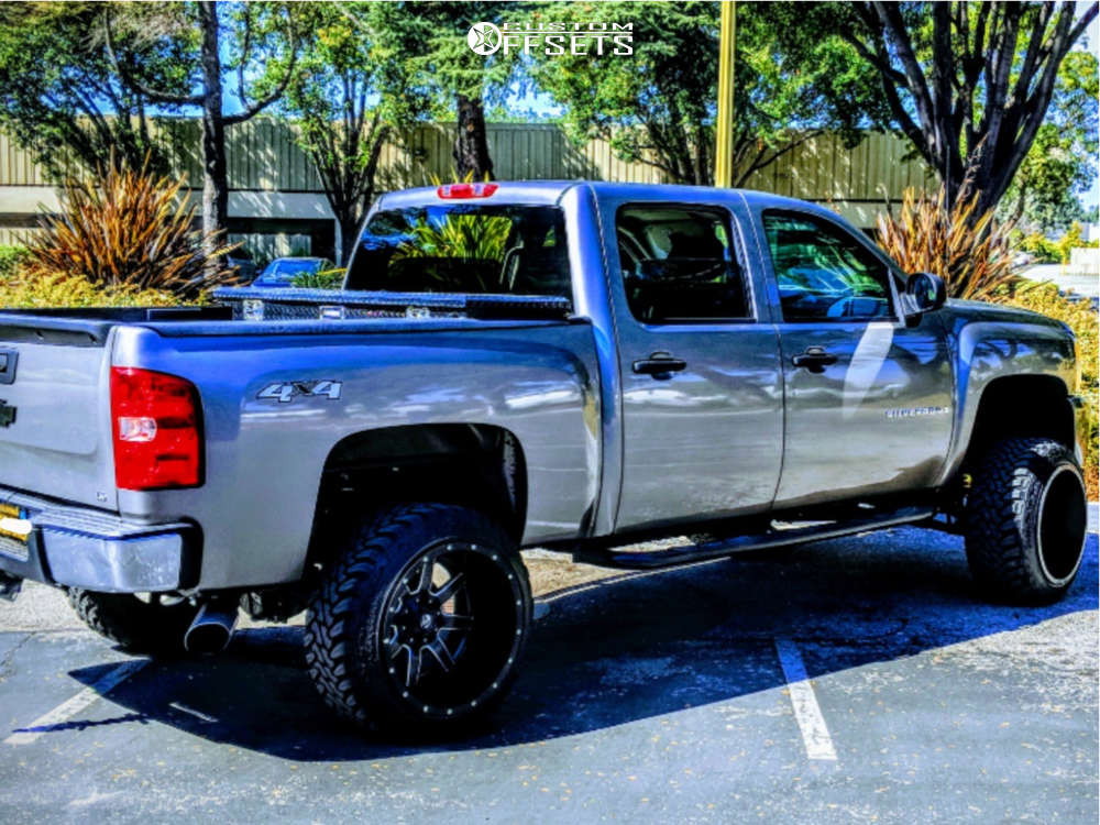"""2009 Chevrolet Silverado 1500 Hella Stance >5"""" on 22x14 -76 offset Fuel Maverick D538 and 33""""x12.5"""" Toyo Tires Open Country M/T on Suspension Lift 6"""" - Custom Offsets Gallery"""