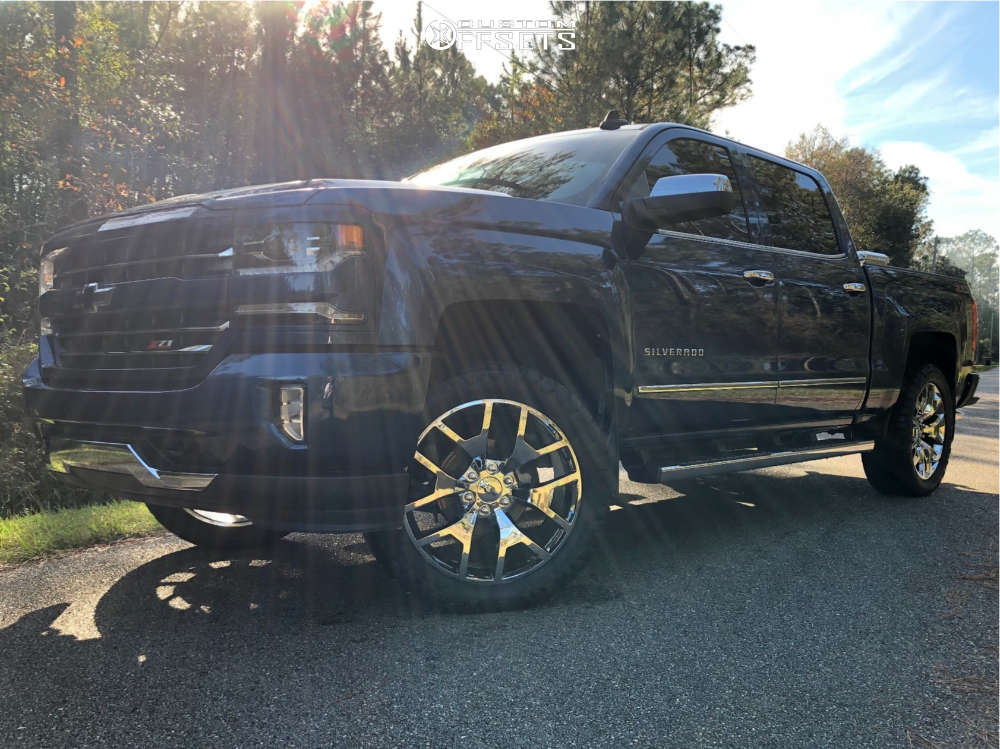 "2016 Chevrolet Silverado 1500 Flush on 22x9 28 offset OE Performance 169 and 33""x12.5"" Nitto Ridge Grappler on Leveling Kit - Custom Offsets Gallery"