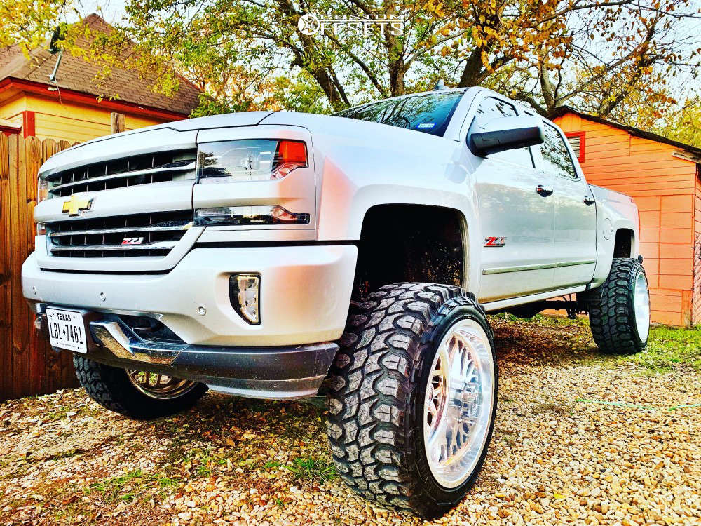 """2016 Chevrolet Silverado 1500 Super Aggressive 3""""-5"""" on 24x14 -76 offset Fuel Forged Ff19 and 37""""x13.5"""" Gladiator Xcomp Mt on Suspension Lift 9"""" - Custom Offsets Gallery"""