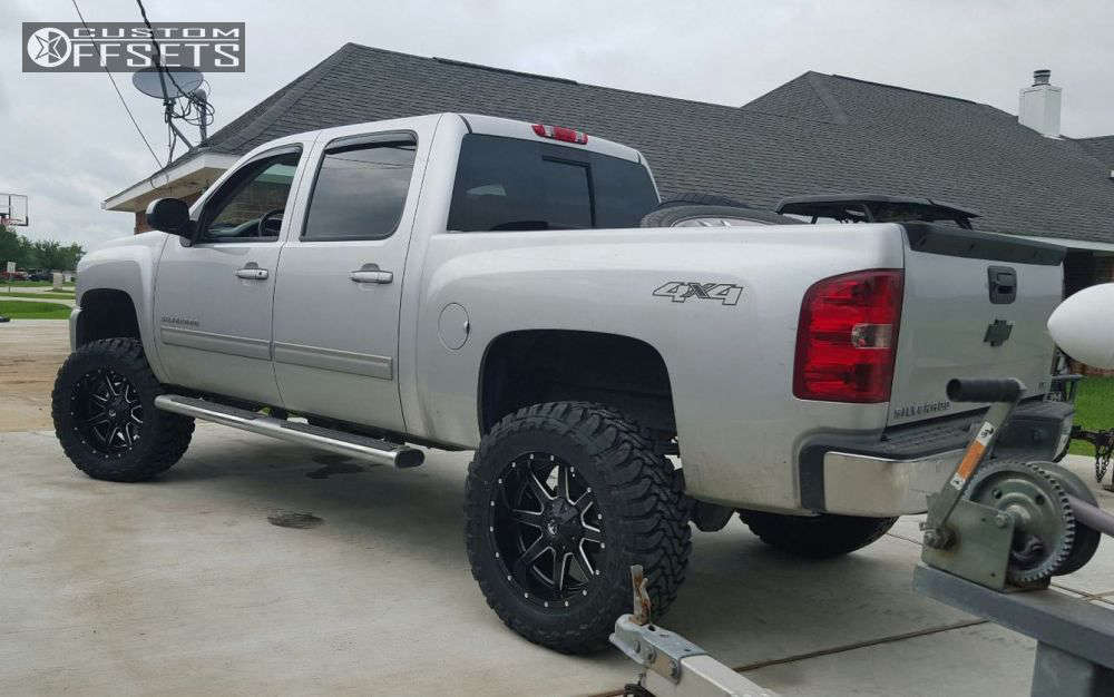 """2013 Chevrolet Silverado 1500 Aggressive > 1"""" outside fender on 20x10 -12 offset Fuel 538 & 35""""x12.5"""" Toyo Tires Open Country M/T on Suspension Lift 7.5"""" - Custom Offsets Gallery"""