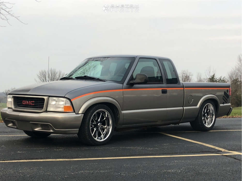 1998 GMC Sonoma Tucked on 18x8 0 offset US Mags Rambler & 245/40 BFGoodrich G-force Comp-2 A/s on Lowered Adj Coil Overs - Custom Offsets Gallery