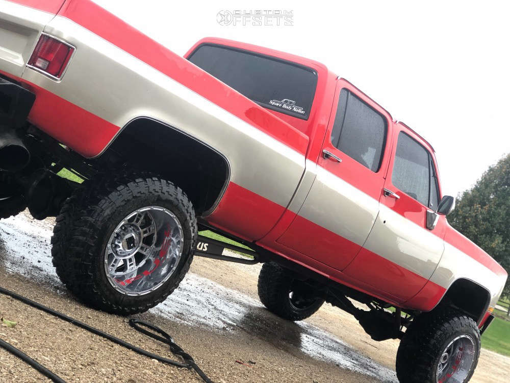 """1988 Chevrolet K3500 Aggressive > 1"""" outside fender on 20x14 -76 offset XD Riot & 35""""x13.5"""" Fuel Mud Gripper on Suspension Lift 4"""" - Custom Offsets Gallery"""