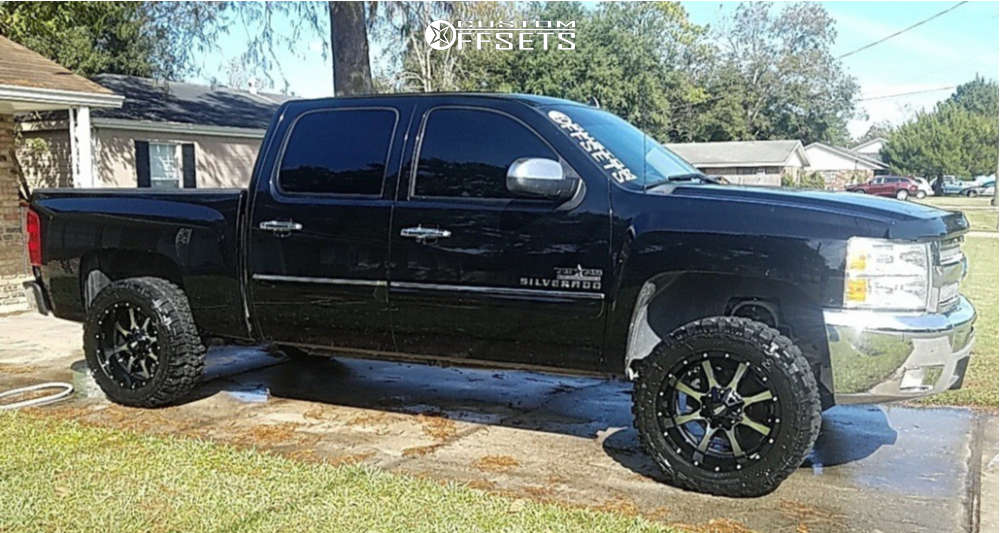 """2013 Chevrolet Silverado 1500 Aggressive > 1"""" outside fender on 20x10 -24 offset Moto Metal Mo970 & 33""""x12.5"""" Federal Couragia Mt on Suspension Lift 3.5"""" - Custom Offsets Gallery"""