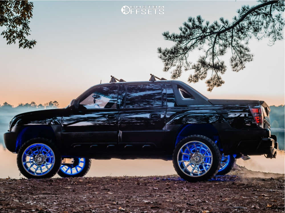 """2003 Chevrolet Avalanche Super Aggressive 3""""-5"""" on 24x14 -76 offset Hostile H113 & 35""""x13.5"""" Amp Mud Terrain Attack Mt A on Suspension Lift 6"""" - Custom Offsets Gallery"""