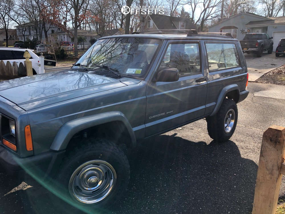 """1999 Jeep Cherokee Nearly Flush on 15x8 -6 offset Vision Rally & 235/70 Forceum M/t 80 on Suspension Lift 3"""" - Custom Offsets Gallery"""