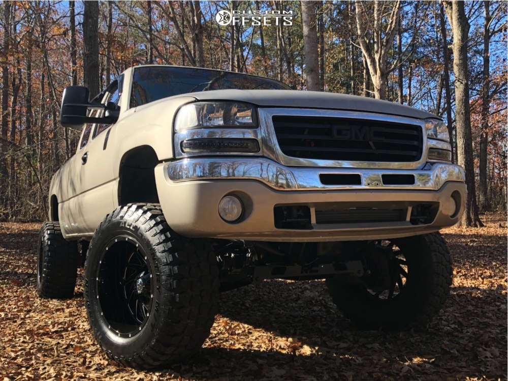 """2003 GMC Sierra 1500 HD Super Aggressive 3""""-5"""" on 20x12 -44 offset Hardrock Crusher H704 & 37""""x13.5"""" Ironman All Country Mt on Suspension Lift 7.5"""" & Body 3"""" - Custom Offsets Gallery"""