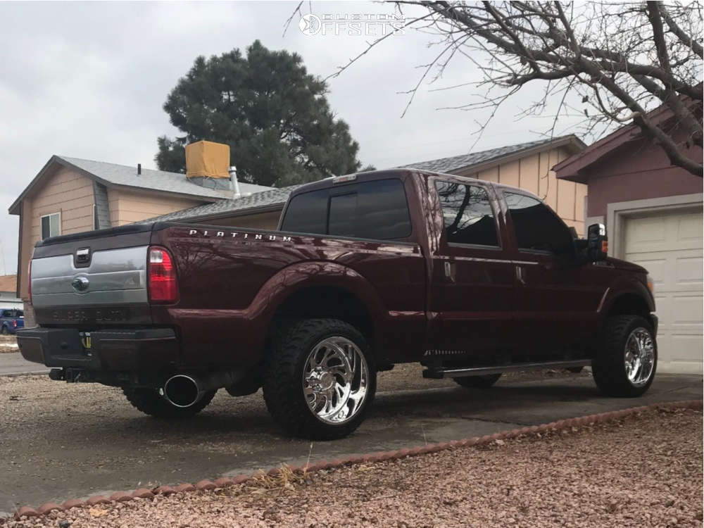 """2016 Ford E-250 Super Duty Aggressive > 1"""" outside fender on 22x12 -51 offset Gear Forged N/a and 33""""x12.5"""" Toyo Tires Open Country M/T on Stock Suspension - Custom Offsets Gallery"""