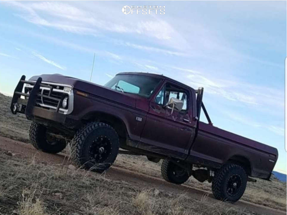 """1973 Ford F-100 Pickup Aggressive > 1"""" outside fender on 17x9 -12 offset Raceline Assault & 33""""x12.5"""" Nitto Trail Grappler on Stock Suspension - Custom Offsets Gallery"""