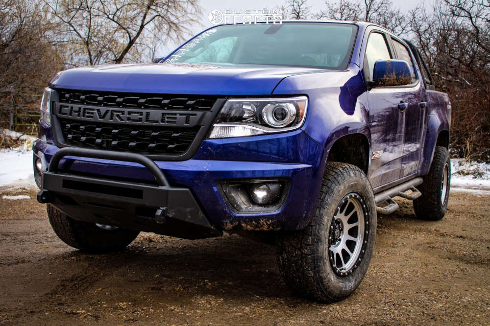 """2016 Chevrolet Colorado Aggressive > 1"""" outside fender on 17x9 0 offset DWG Offroad Dw10 & 265/70 Nitto Terra Grappler G2 on Suspension Lift 3"""" - Custom Offsets Gallery"""