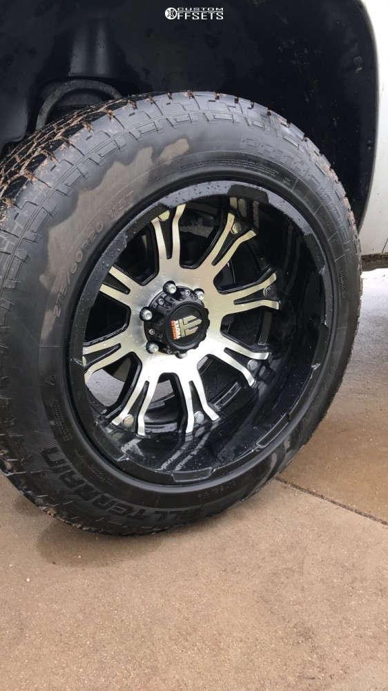 "2010 Chevrolet Silverado 1500 Super Aggressive 3""-5"" on 20x12 -44 offset American Truxx Bomb & 275/60 Pathfinder All Terrain on Suspension Lift 3"" - Custom Offsets Gallery"