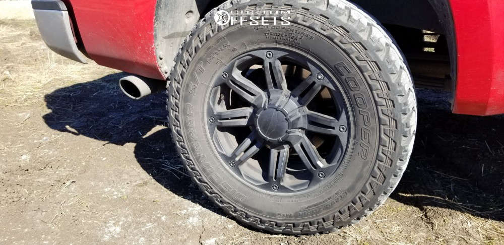 """2010 Toyota Tundra Slightly Aggressive on 18x8.5 0 offset Eagle Alloy Series 027 and 295/70 Cooper Discoverer S/t Maxx on Suspension Lift 3"""" - Custom Offsets Gallery"""