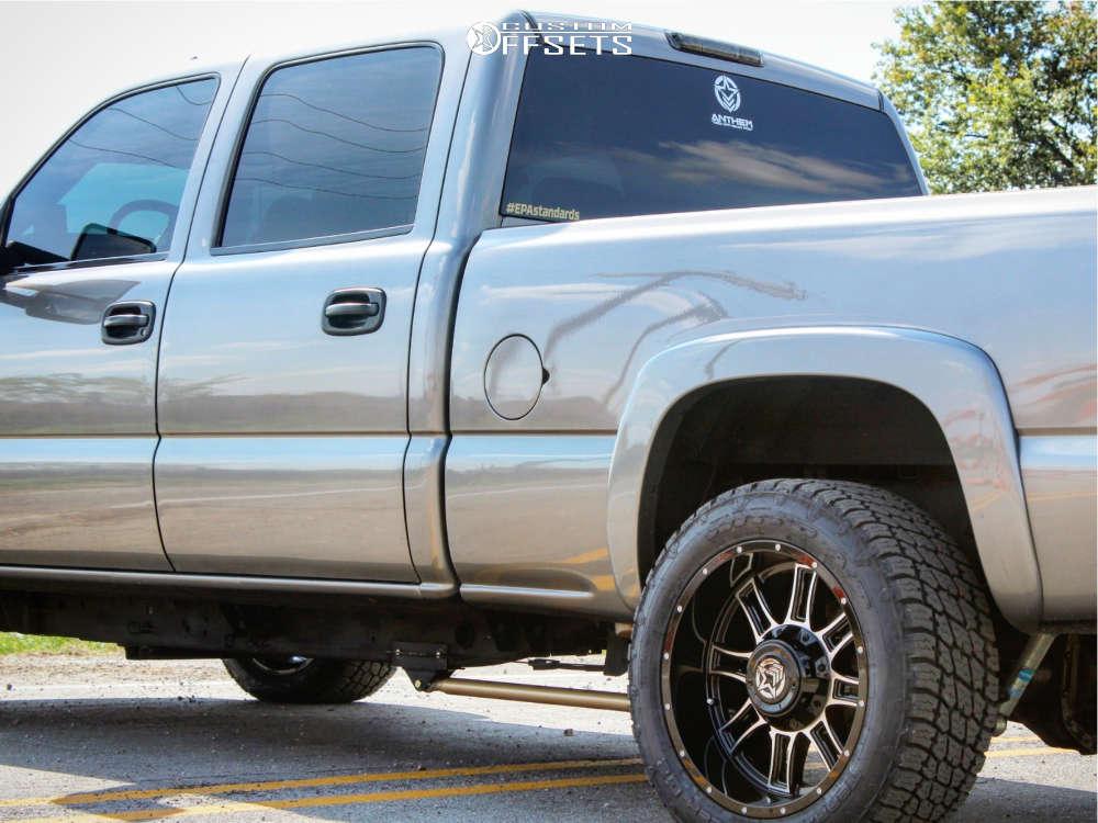 "2006 Chevrolet Silverado 2500 HD Classic Aggressive > 1"" outside fender on 20x10 -24 offset Anthem Off-Road Instigator & 285/50 Nitto Terra Grappler G2 on Level 2"" Drop Rear - Custom Offsets Gallery"