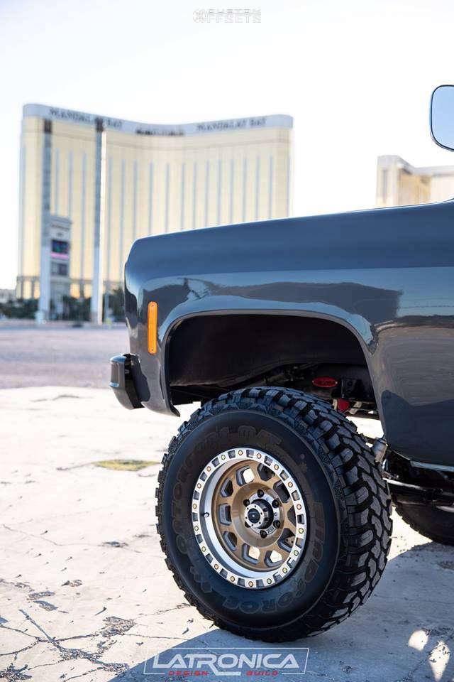 "1977 Chevrolet K10 Pickup Aggressive > 1"" outside fender on 17x9 -12 offset XD Xd132 & 35""x12.5"" Radar Renegade R7 on Suspension Lift 4"" - Custom Offsets Gallery"