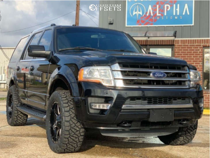 """2016 Ford Expedition Slightly Aggressive on 20x9 1 offset Fuel Maverick and 33""""x12.5"""" Nitto Ridge Grappler on Leveling Kit - Custom Offsets Gallery"""