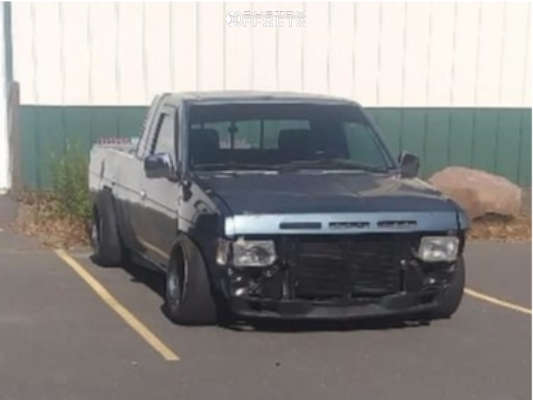 """1993 Nissan D21 Hella Stance >5"""" on 15x10 -38 offset American Racing Ar-767 and 195/65 Achilles 868 All Seasons on Lowered 4F / 6R - Custom Offsets Gallery"""