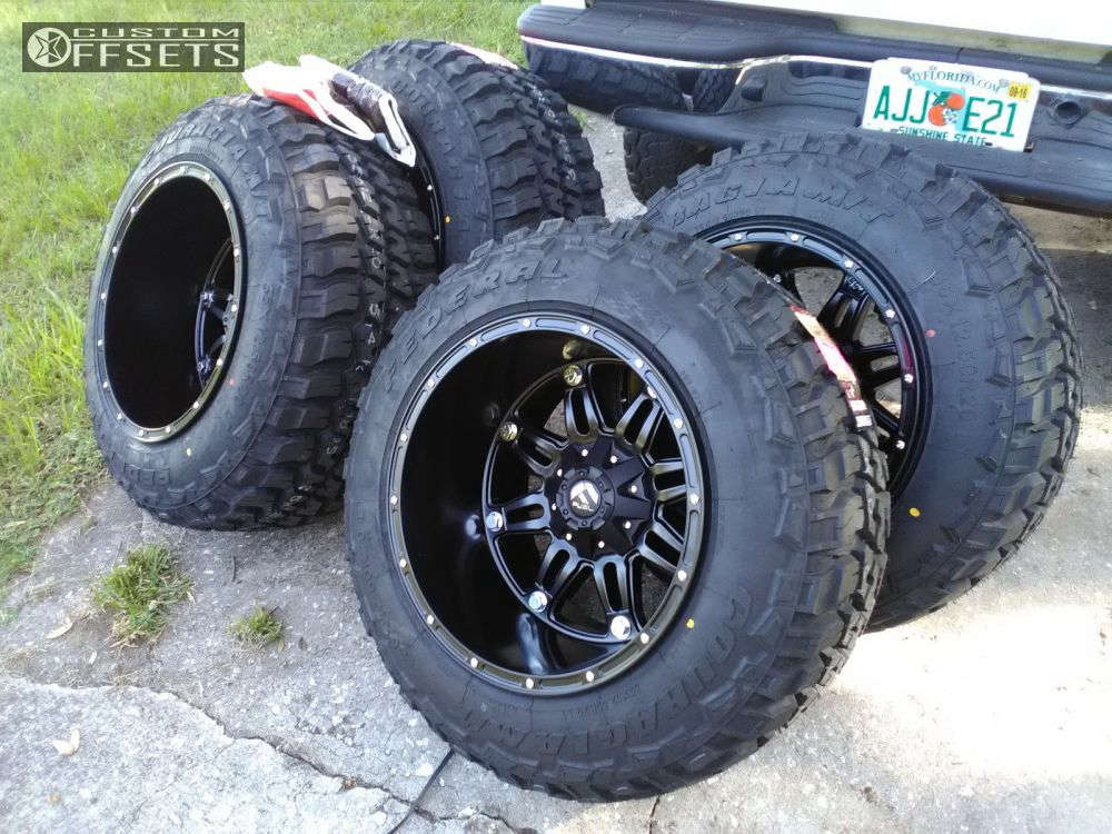 """2003 Chevrolet Silverado 1500 Hella Stance >5"""" on 20x14 -76 offset Fuel Hostage and 35""""x12.5"""" Federal Couragia MT on Suspension Lift 6"""" & Body 3"""" - Custom Offsets Gallery"""