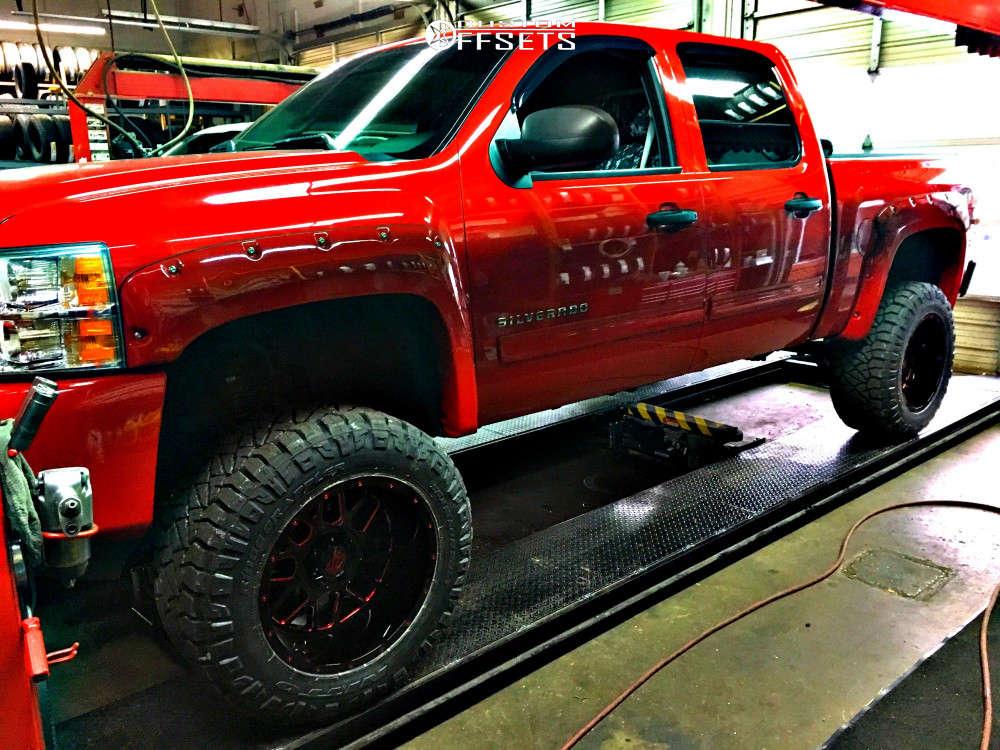 "2010 Chevrolet Silverado 1500 Aggressive > 1"" outside fender on 20x12 -44 offset XD Grenade & 35""x13.5"" Nitto Ridge Grappler on Suspension Lift 7.5"" - Custom Offsets Gallery"