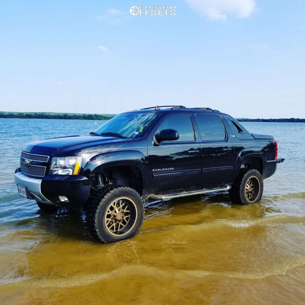 """2011 Chevrolet Avalanche Aggressive > 1"""" outside fender on 20x10 -24 offset DFD Grenade & 35""""x12.5"""" Radar Renegade R7 on Suspension Lift 7.5"""" - Custom Offsets Gallery"""