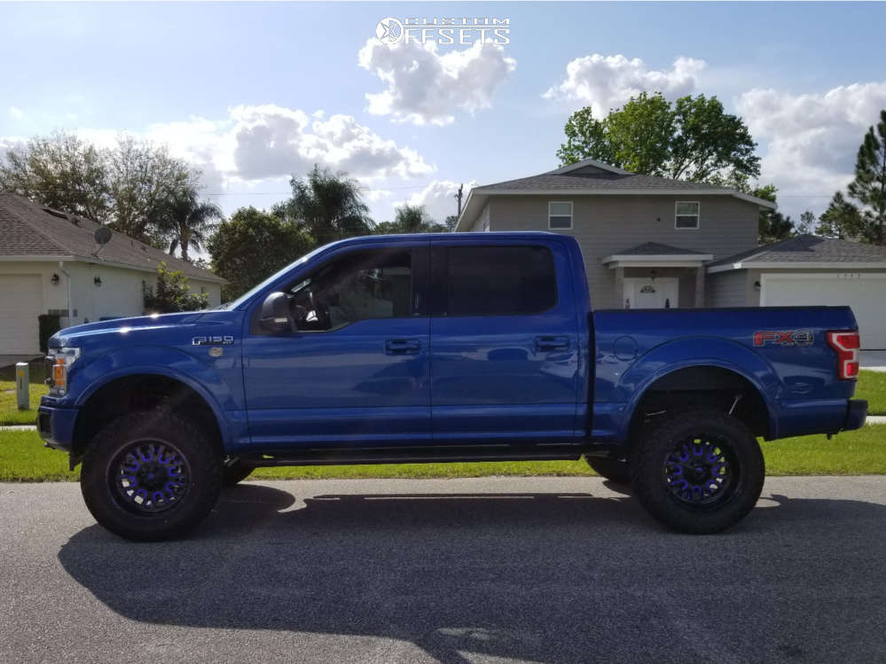 """2018 Ford F-150 Aggressive > 1"""" outside fender on 20x10 -18 offset Fuel Stroke and 35""""x12.5"""" Fuel Mud Gripper on Suspension Lift 6"""" - Custom Offsets Gallery"""
