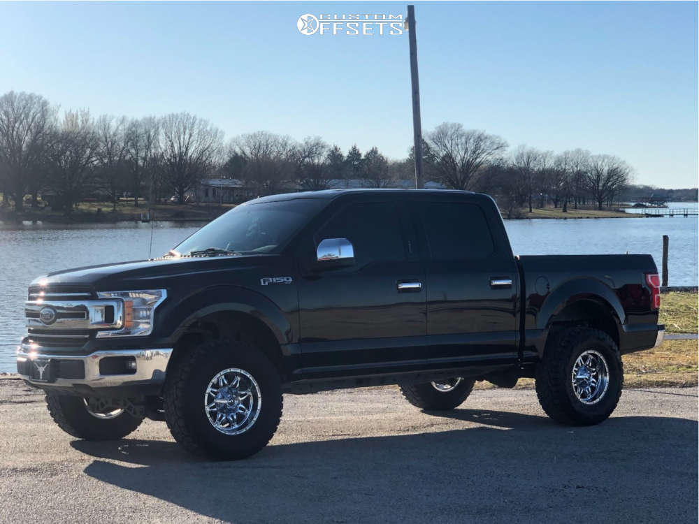 """2018 Ford F-150 Aggressive > 1"""" outside fender on 17x9 1 offset Fuel Hostage and 35""""x12.5"""" Toyo Tires Open Country R/T on Suspension Lift 4"""" - Custom Offsets Gallery"""