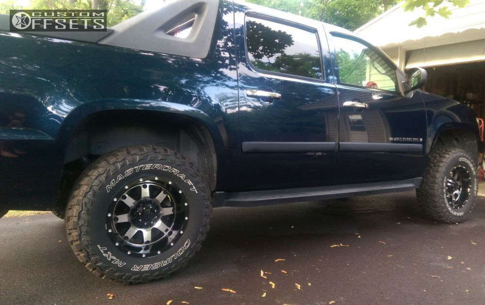"""2007 Chevrolet Avalanche Aggressive > 1"""" outside fender on 17x9 -12 offset Gear Off-Road Big Block and 285/70 Mastercraft Courser MXT on Suspension Lift 3.5"""" - Custom Offsets Gallery"""