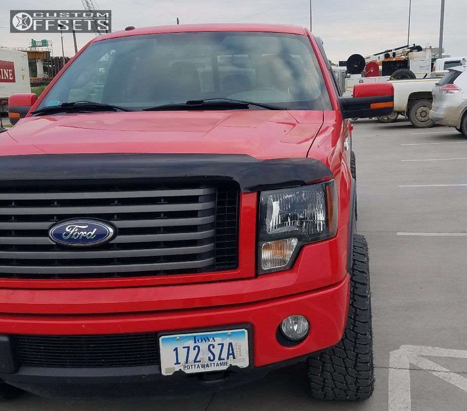 """2011 Ford F-150 Aggressive > 1"""" outside fender on 20x9 -12 offset Ballistic Jester and 305/50 Nitto Terra Grappler G2 on Leveling Kit - Custom Offsets Gallery"""