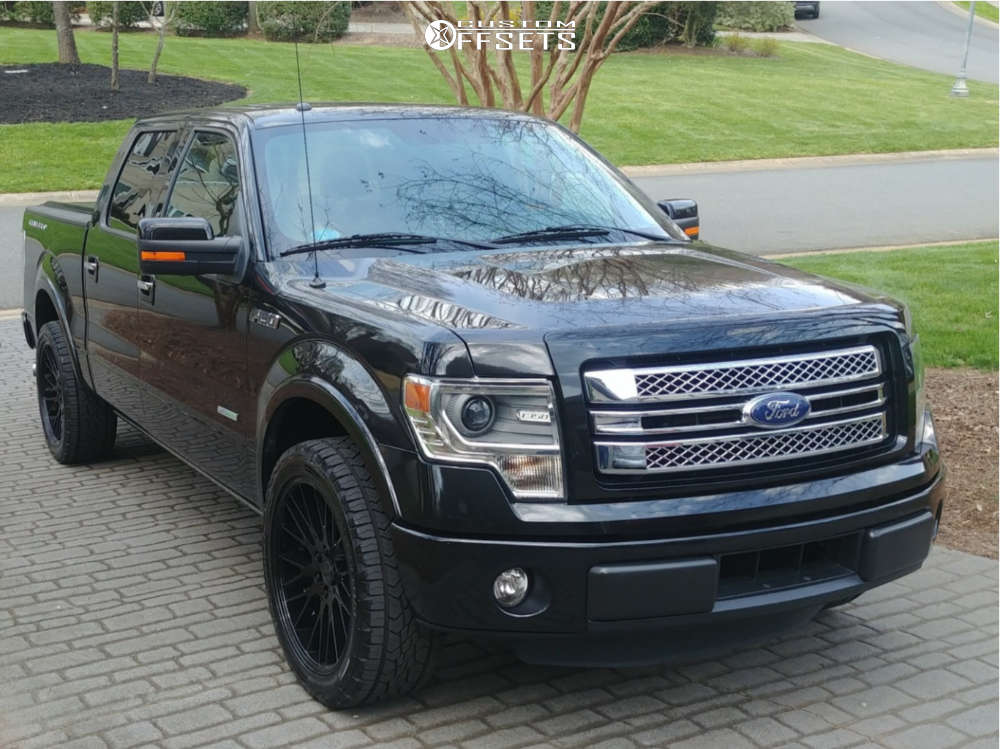 """2014 Ford F-150 Aggressive > 1"""" outside fender on 22x9.5 27 offset Verde Duo & 285/45 Continental TerrainContact AT on Stock Suspension - Custom Offsets Gallery"""