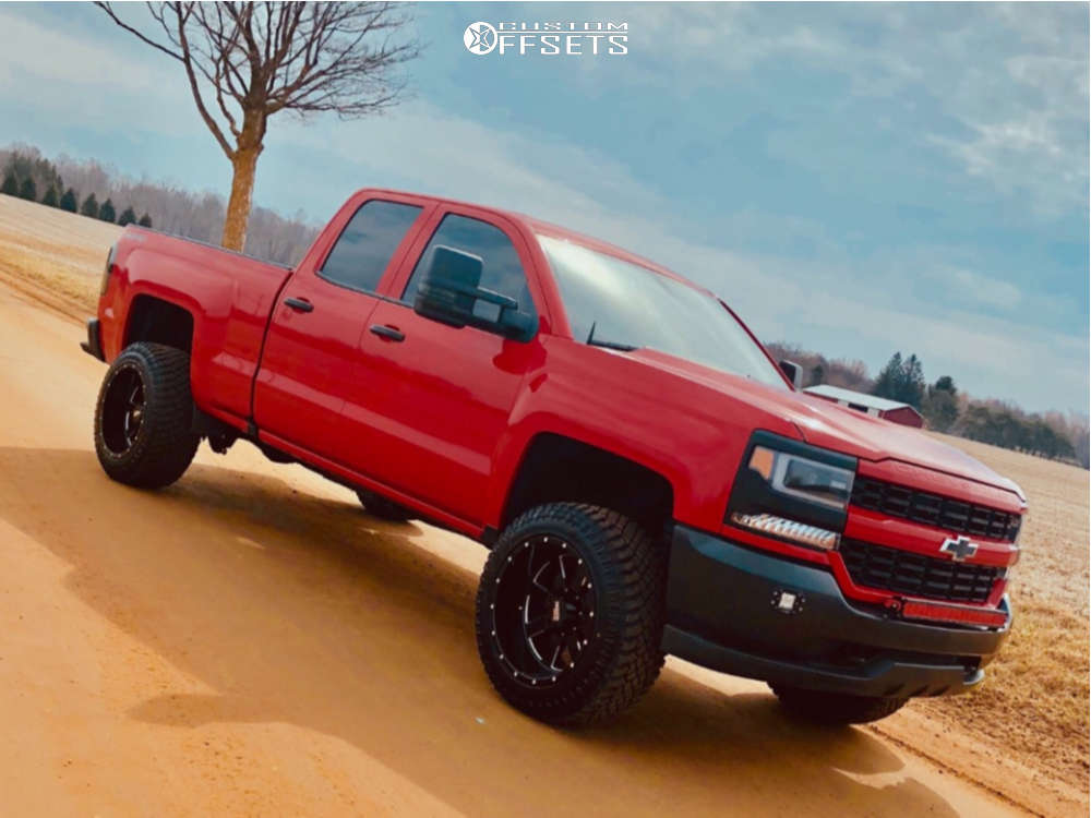 "2019 Chevrolet Silverado 1500 Aggressive > 1"" outside fender on 20x12 -44 offset Moto Metal Mo962 & 33""x12.5"" Atturo Trail Blade Xt on Suspension Lift 3.5"" - Custom Offsets Gallery"