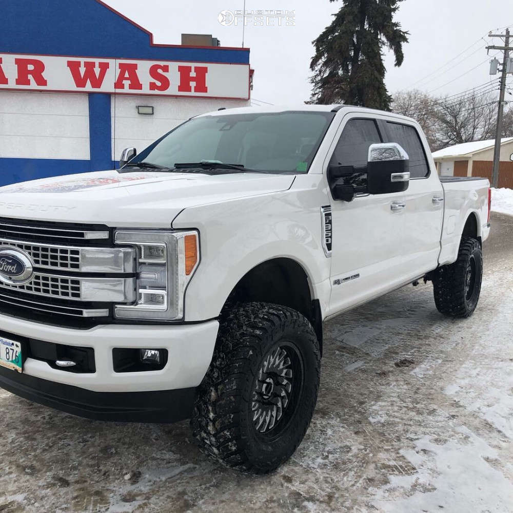 """2017 Ford F-350 Super Duty Aggressive > 1"""" outside fender on 20x9 0 offset Cali Offroad Switchback and 37""""x13.5"""" AMP Mud Terrain Attack Mt A on Suspension Lift 4.5"""" - Custom Offsets Gallery"""