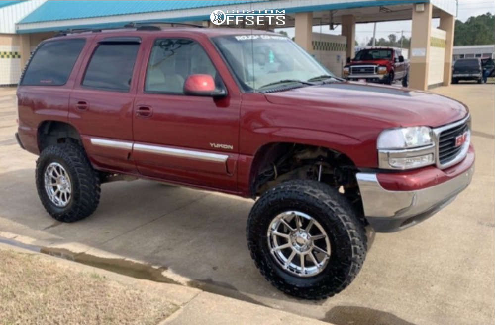 """2003 GMC Yukon XL 1500 Super Aggressive 3""""-5"""" on 18x9 0 offset V-Rock Tactical & 35""""x11.5"""" Nitto Trail Grappler on Suspension Lift 6"""" - Custom Offsets Gallery"""