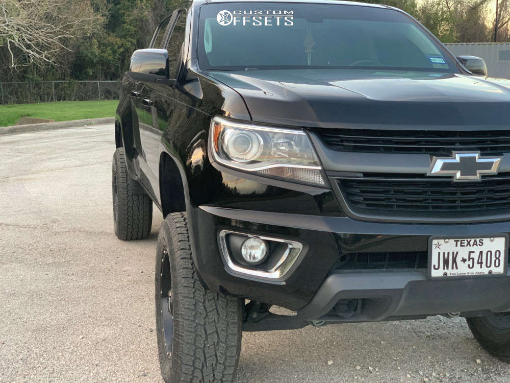 """2016 Chevrolet Colorado Slightly Aggressive on 18x9 1 offset Fuel Hostage & 275/65 Toyo Tires Open Country A/t Ii on Suspension Lift 4"""" - Custom Offsets Gallery"""