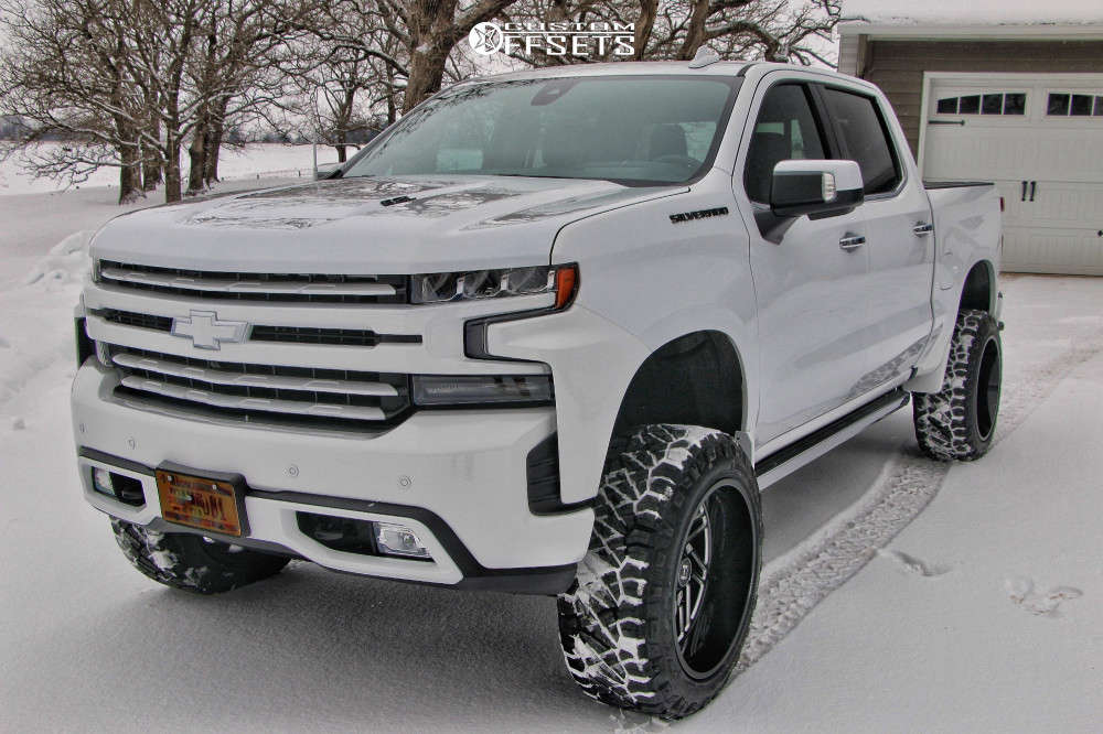 "2019 Chevrolet Silverado 1500 Aggressive > 1"" outside fender on 22x12 -44 offset Hostile Jigsaw & 285/55 Nitto Ridge Grappler on Suspension Lift 6"" - Custom Offsets Gallery"