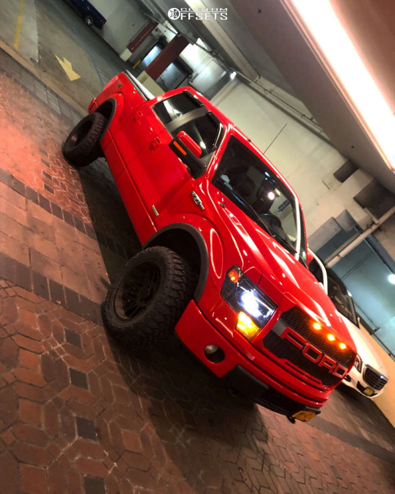 """2014 Ford F-150 Aggressive > 1"""" outside fender on 20x10 -25 offset Cali Offroad Rawkon & 33""""x12.5"""" Centennial Dirt Commander Mt on Leveling Kit - Custom Offsets Gallery"""