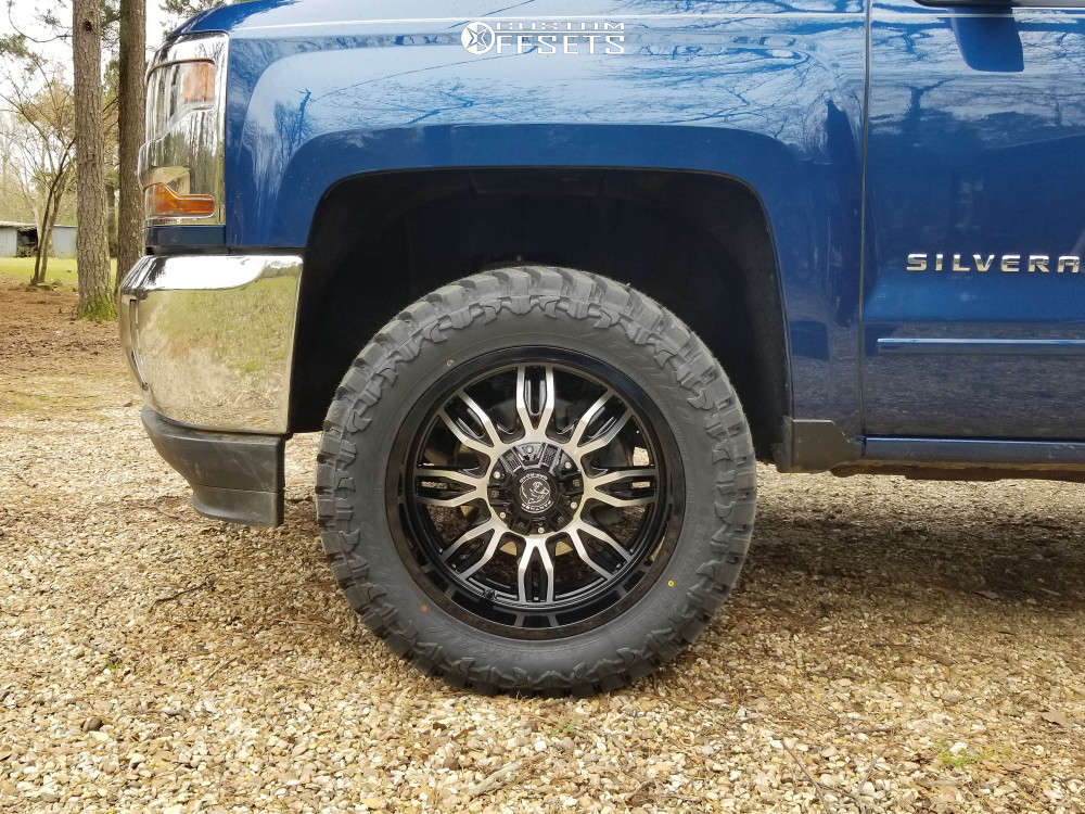 """2017 Chevrolet Silverado 1500 Aggressive > 1"""" outside fender on 20x9 -12 offset Panther Offroad 580 and 33""""x12.5"""" Atturo Trail Blade Mt on Leveling Kit - Custom Offsets Gallery"""