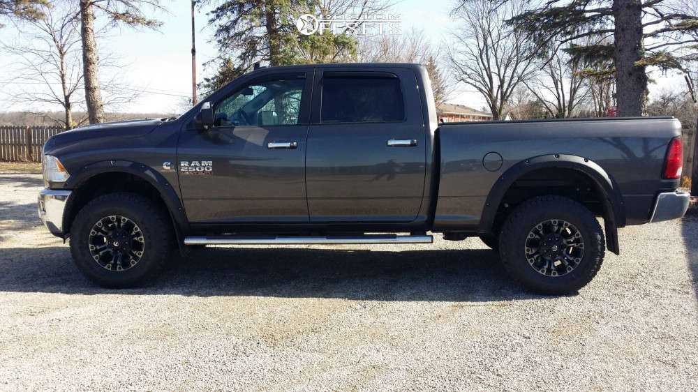 """2016 Ram 2500 Aggressive > 1"""" outside fender on 18x9 1 offset Fuel Vapor & 295/75 Toyo Tires Open Country A/T II on Stock Suspension - Custom Offsets Gallery"""