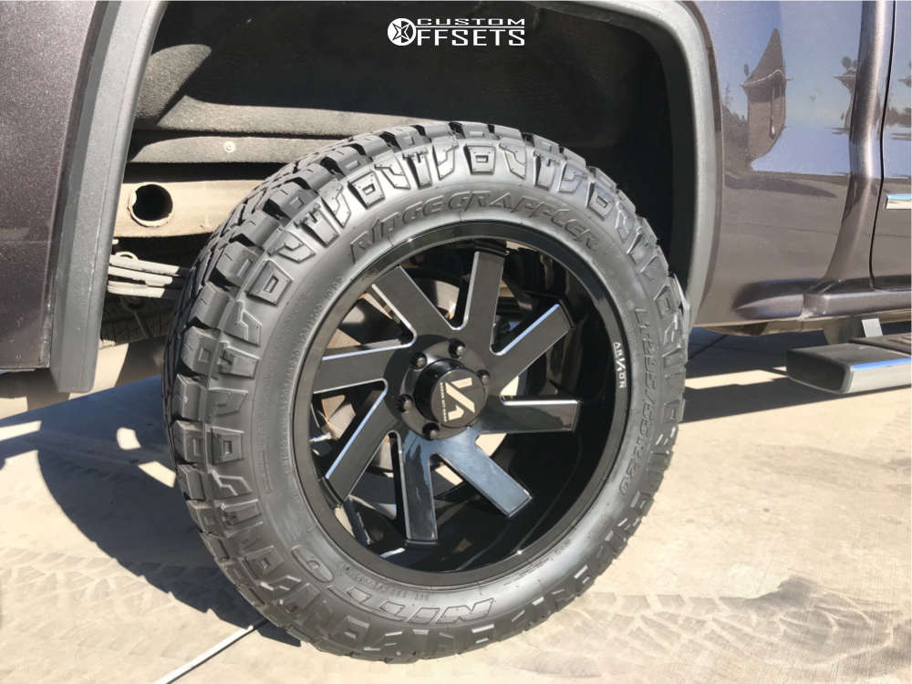 """2015 GMC Sierra 1500 Aggressive > 1"""" outside fender on 20x10 -25 offset ARKON OFF-ROAD Lincoln and 295/55 Nitto Ridge Grappler on Leveling Kit - Custom Offsets Gallery"""