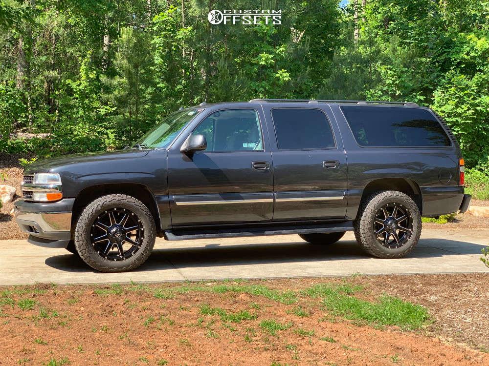 "2005 Chevrolet Suburban Aggressive > 1"" outside fender on 20x9 1 offset Fuel Maverick D538 & 275/60 Falken Wildpeak At3w on Leveling Kit - Custom Offsets Gallery"